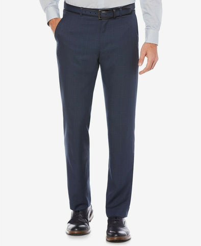 $85 Perry Ellis Modern-Fit Performance Stretch Dress Pants 30 x 30 Blue Plaid