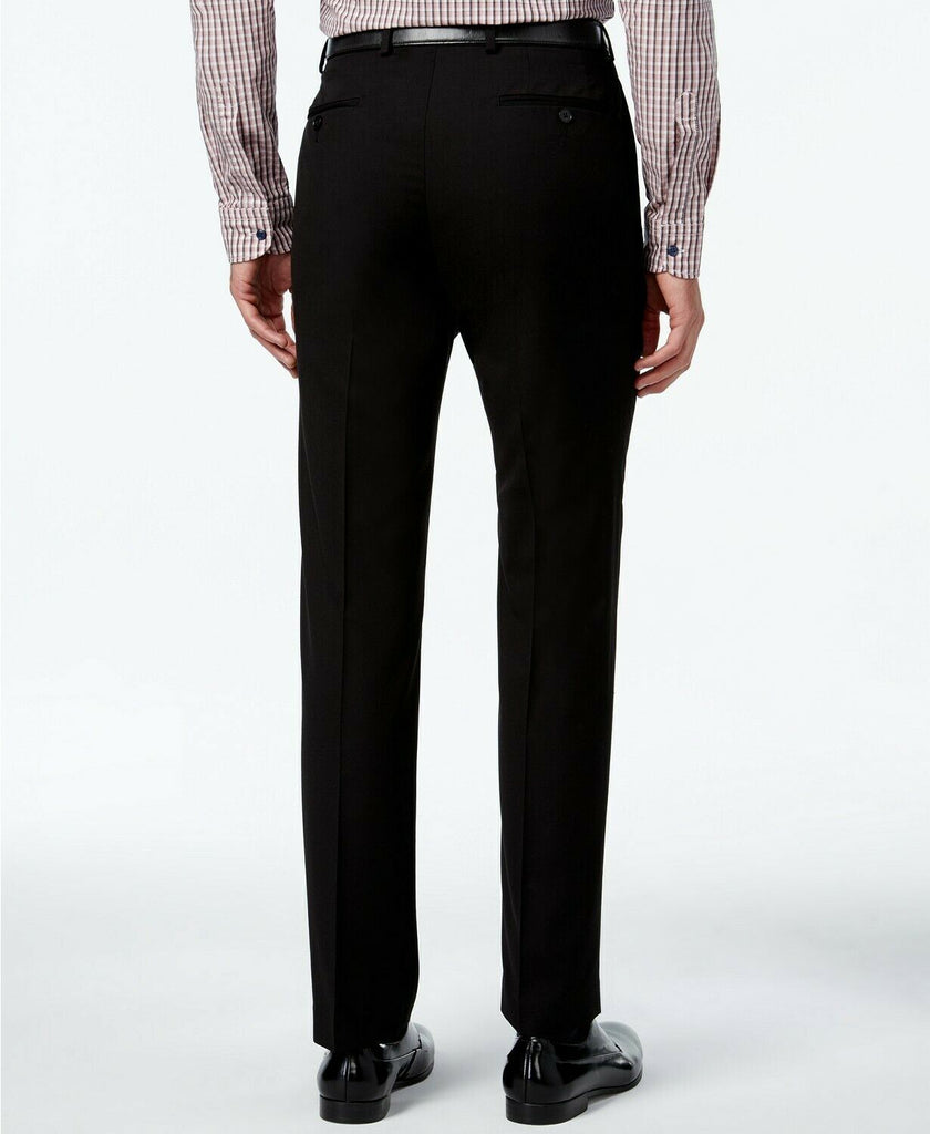 $95 Calvin Klein Slim-Fit Solid Dress Pants 30 x 29 Black WASHABLE