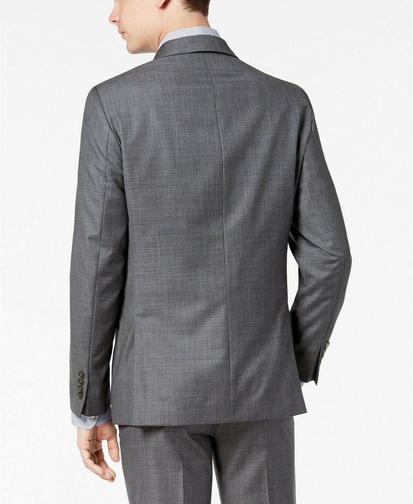 $600 Calvin Klein Men's Slim-Fit Stretch Gray Sharkskin Suit 42S / 36 x 30