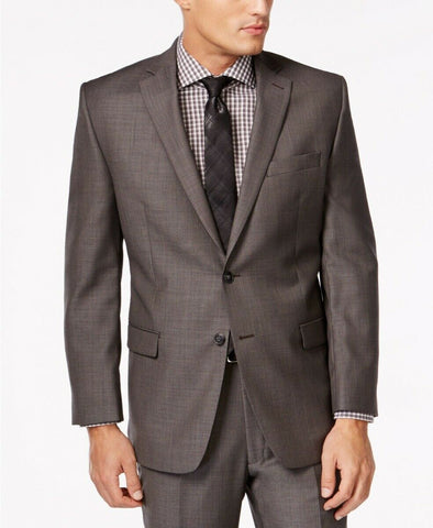 $425 Calvin Klein Modern Fit Jacket Sport Coat 40R Charcoal Grey Pindot Wool