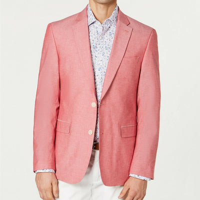 Tommy Hilfiger Men's Modern-Fit Chambray Sport Coat 36R Red
