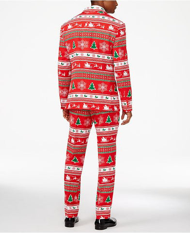 OppoSuits Christmas Winter Wonderland Slim Suit Size 46R / 40W Jacket Pants Tie