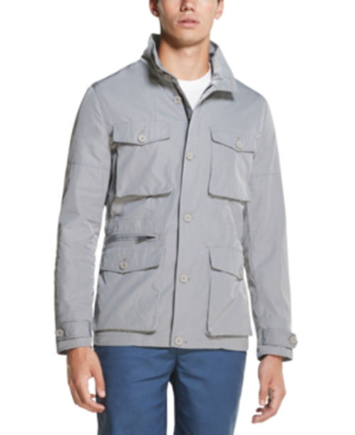 DKNY Men's Field Zip / Button Up Jacket Large Grey