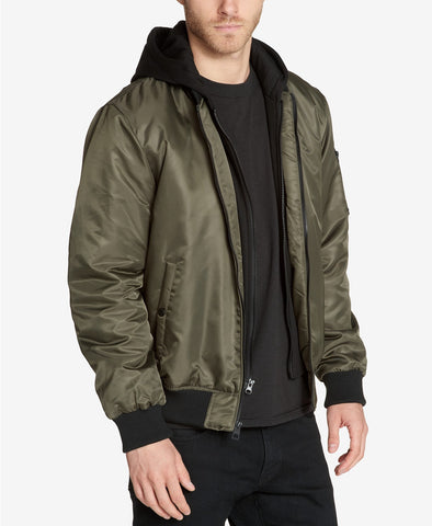$200 GUESS Men's Bomber Jacket with Removable Hooded Inset XXL Olive