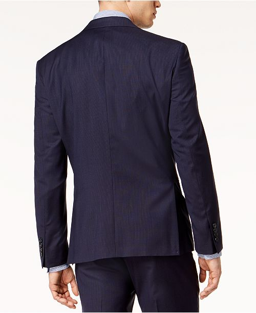 $525 DKNY Men's Modern-Fit Stretch Textured Suit Jacket 48L Navy Blue