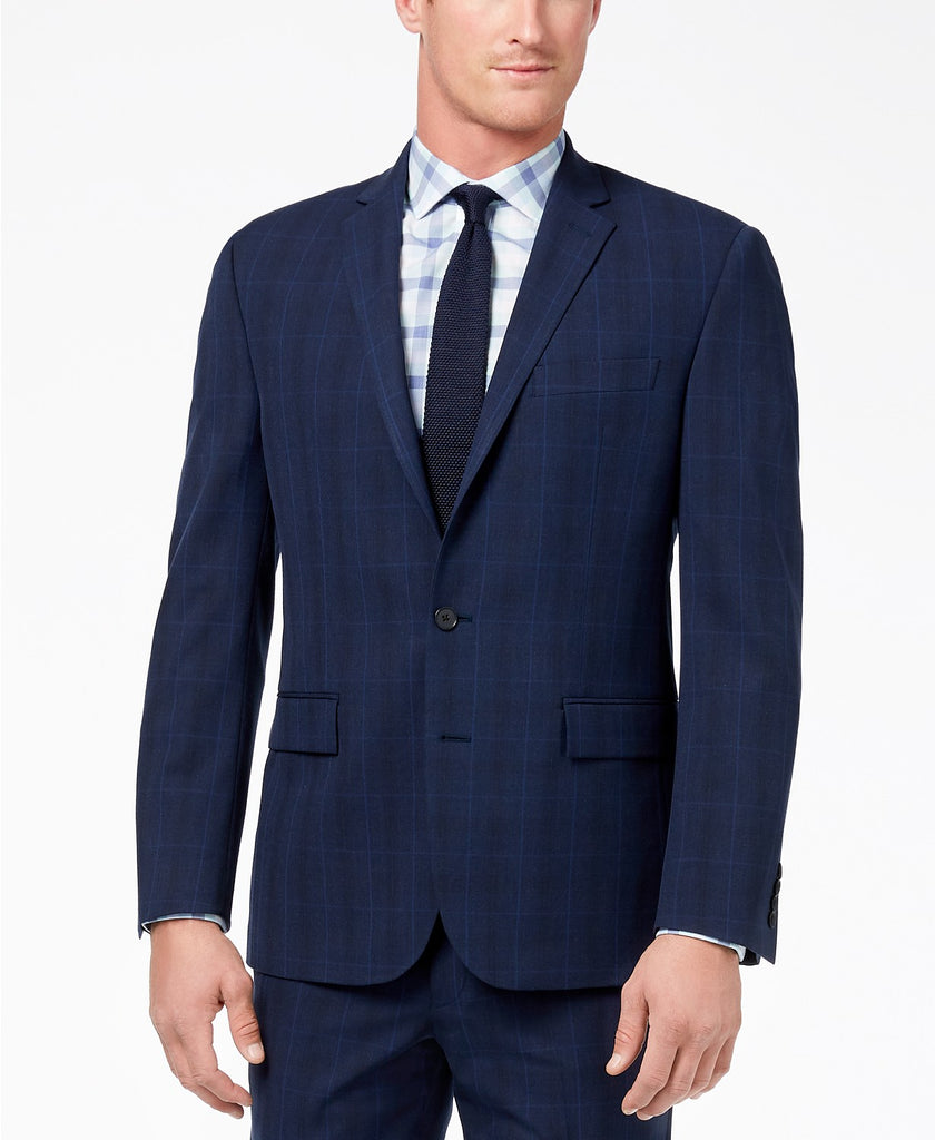 Ryan Seacrest Distinction Slim-Fit Stretch Suit Jacket 44L Blue Windowpane