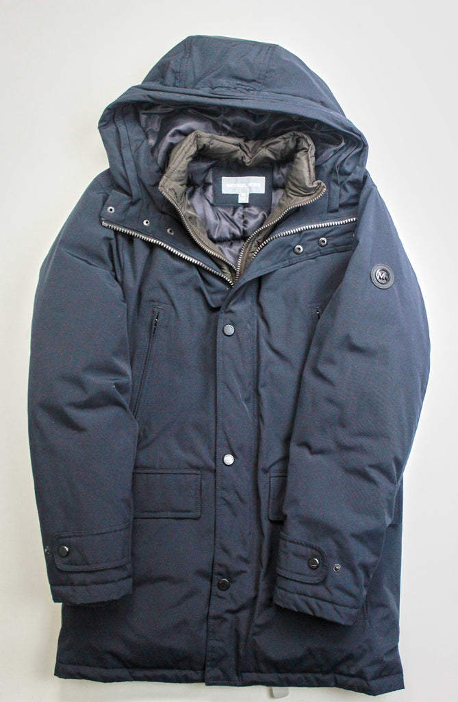 $375 Michael Kors Hooded Bib Snorkel Parka Coat Small Navy Blue NO FUR
