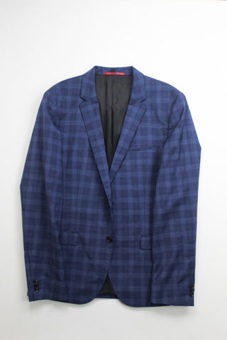 $595 Hugo Boss Arti Extra Slim Suit Jacket 40R Navy Blue Plaid WOOL