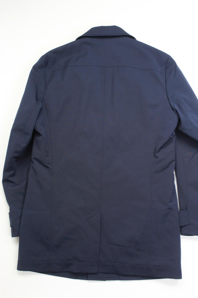 $645 HUGO BOSS Slim Midais Rain Coat 42R Navy Blue Faux Leather Undercollar