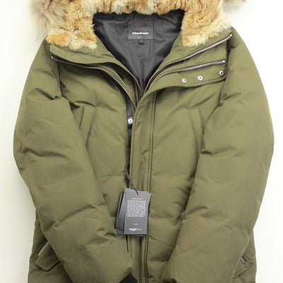 $1160 Mackage Edward Down Parka Coat Size 38 Army Green Coyote Rabbit Fur Trim