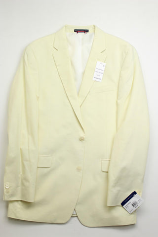 $295 Tommy Hilfiger Men's Modern-Fit Chambray Sport Coat 42L Light Yellow