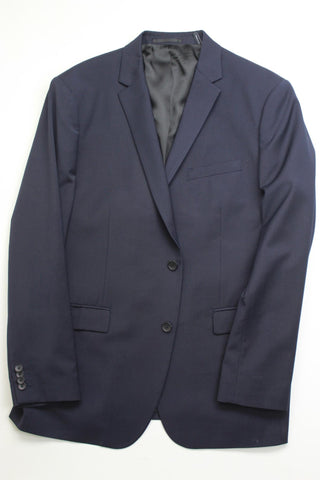 $595 Theory Slim Fit Navy Blue Suit Jacket 46R Wool Stretch
