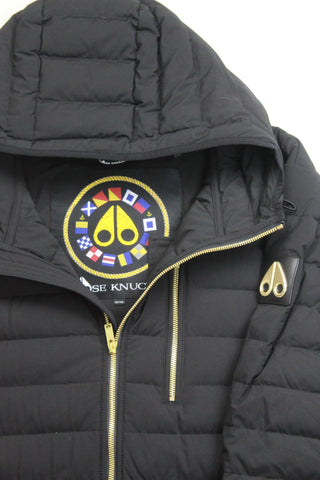 $624 Moose Knuckles Richot Hoodie Puffer Jacket XXL Black Small Defect