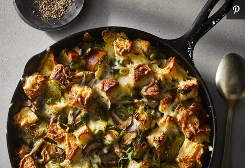 Cheesy Brussel Sprouts Bread Pudding