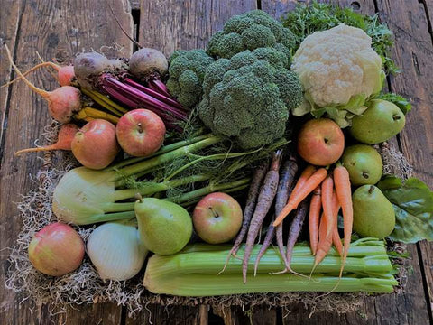 this week's box full of carrots, beets, apples, fennel, broccoli, celery, pears and cauliflower.