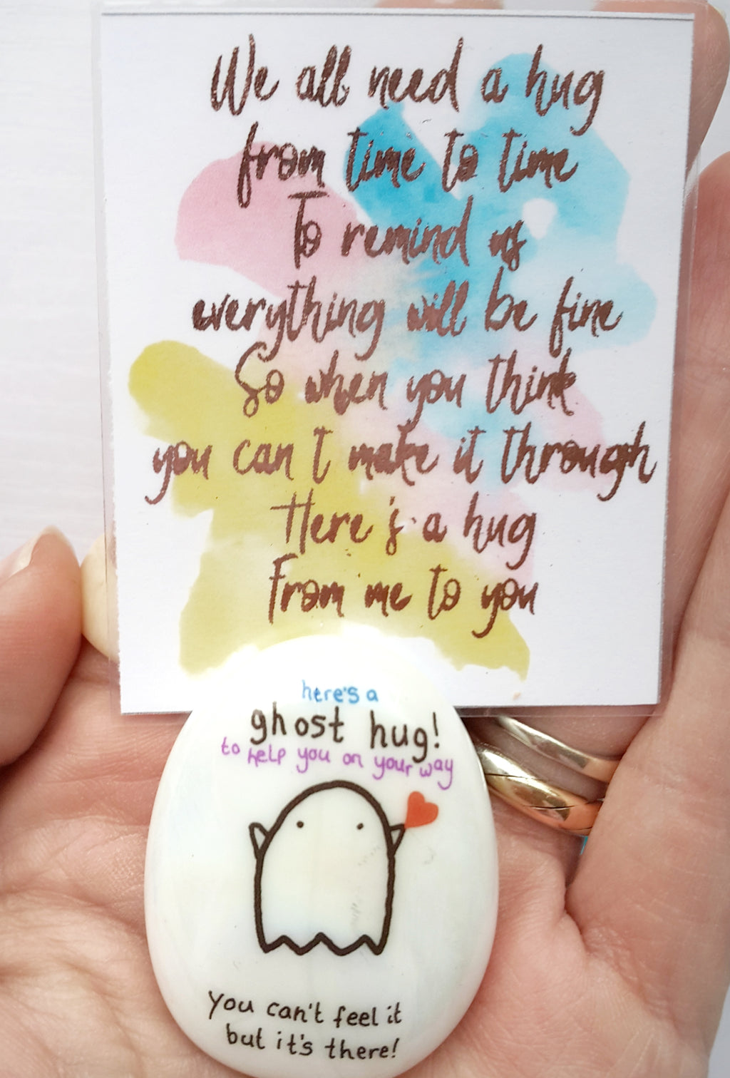Ghost Hug Stone - You Are Not Alone - Little Happy Thoughts