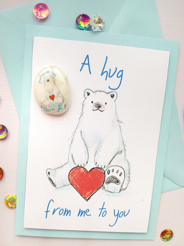 Bear Hug Card and Portable Hig Stone Gift Set - Little Happy Thoughts