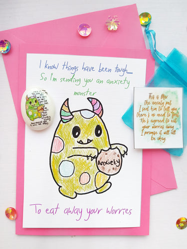 Anxiety Monster Card And Anxiety Stone Gift Set - Pink Or Blue - Little Happy Thoughts