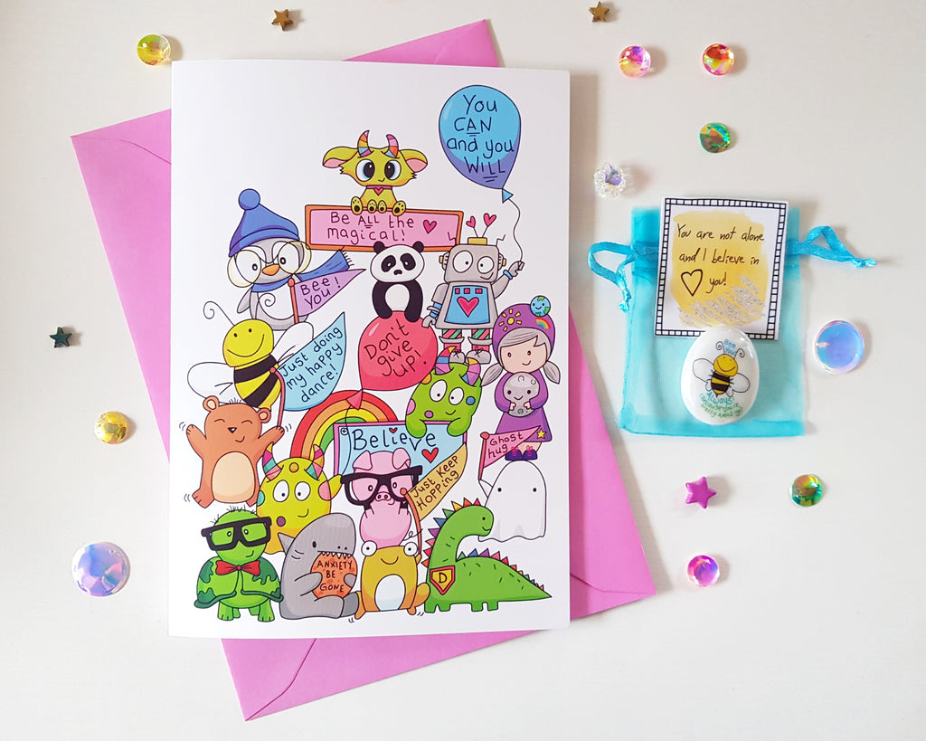 Positivity Mountain - Don't Give Up! Card Gift Set 💚💛💜💙❤ - Little Happy Thoughts
