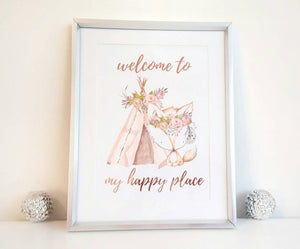 Happy Place Print - Boho Fox Rose Rose Gold Foil Print - Little Happy Thoughts