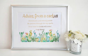 Advice From A Cactus - Self Care Gift - Little Happy Thoughts