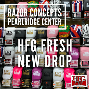"""Fresh New Drop"" @ Razor Concepts Pearlridge West Oahu for HFG Apparel and Fight Gear today..."