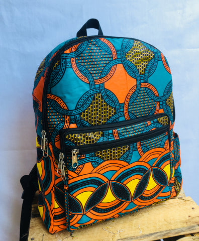 BACKPACKS, BACK TO SCHOOL BAGS, TRAVELLER BAGS, MEDIUM SIZE, AFRICAN WAX BAGS