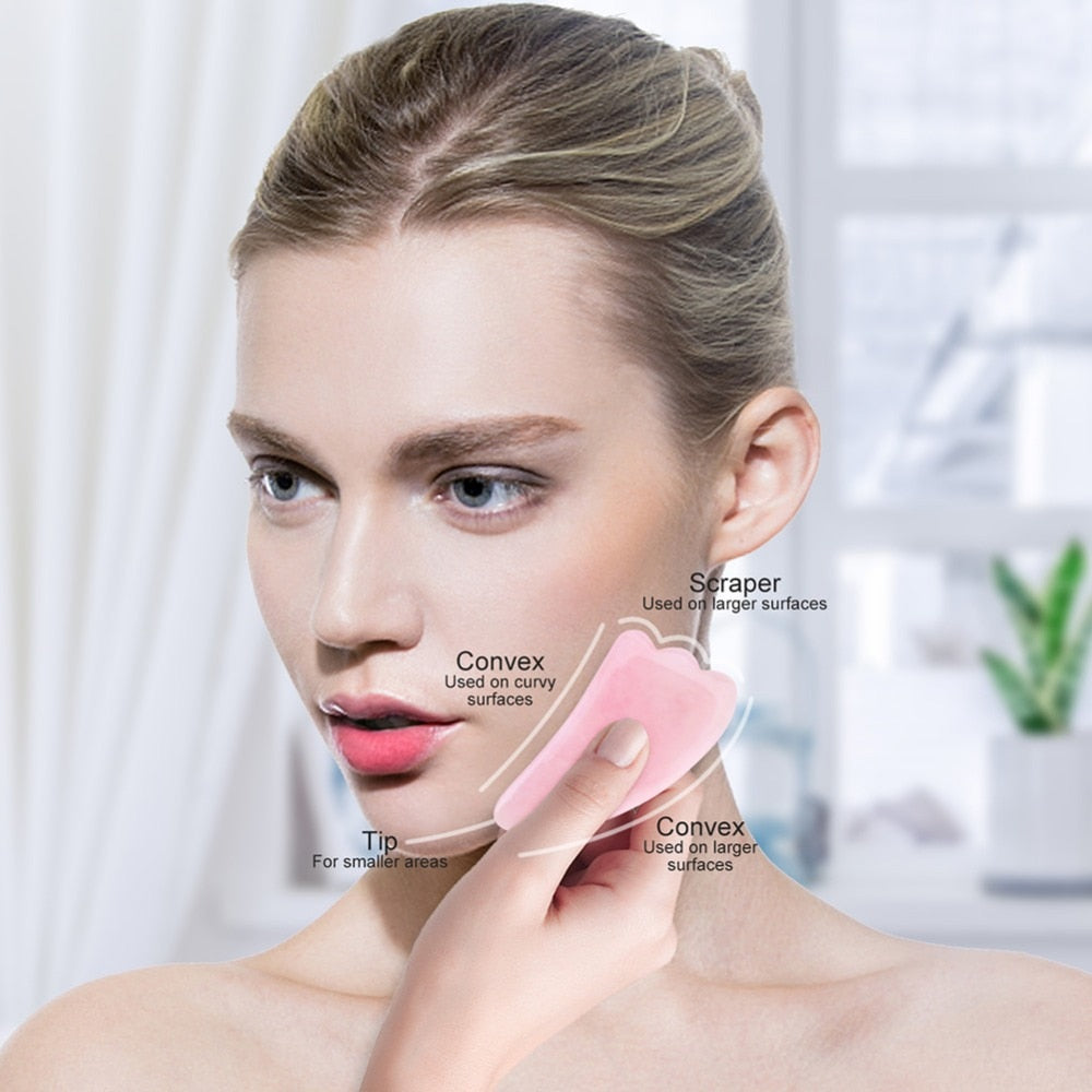 Rose Quartz Roller Slimming Face Massager Lifting Tool
