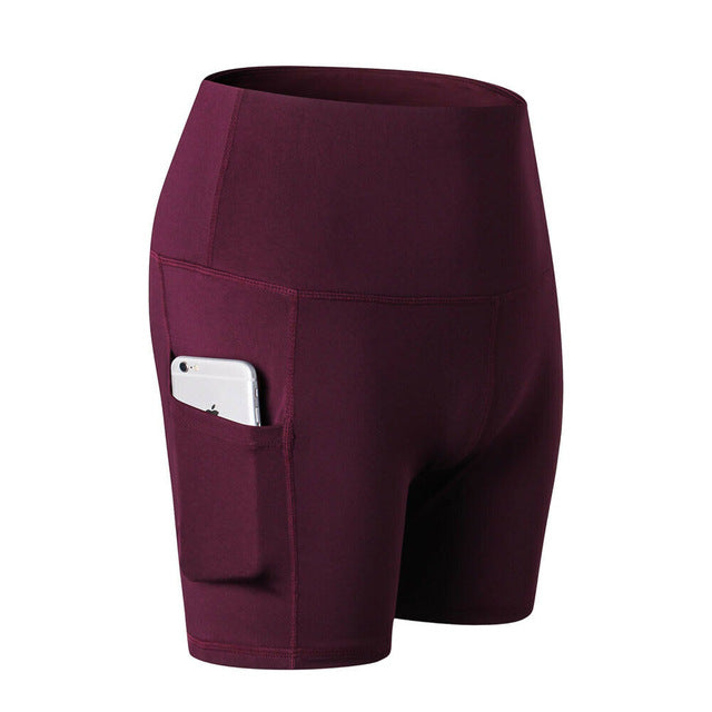 High Waist Sports Shorts With Side Pocket