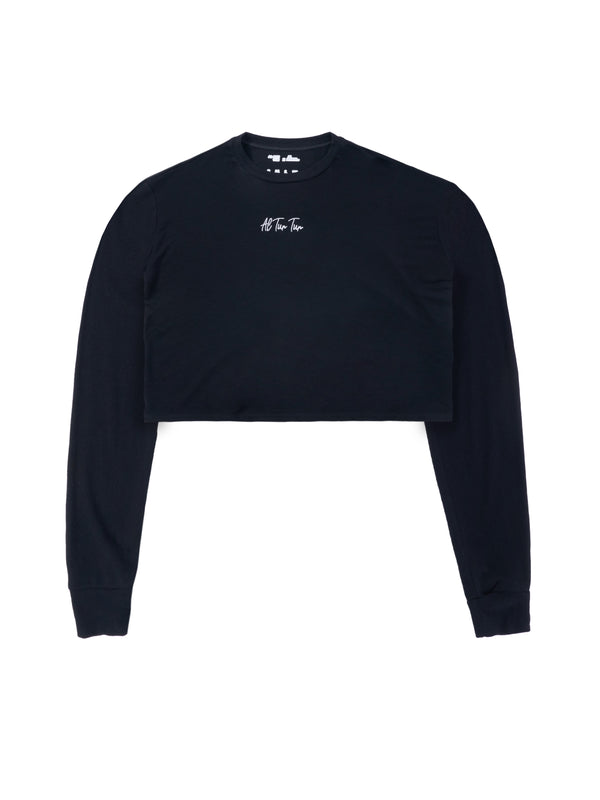 ATT Crop Long Sleeved - Black/ White Logo