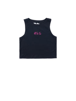 ATT Crop Sleeveless - Black/ Pink Logo