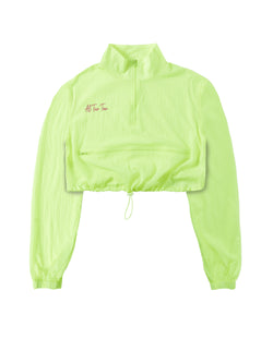 ATT Neon Windbreaker Set Zipper Crop - Yellow
