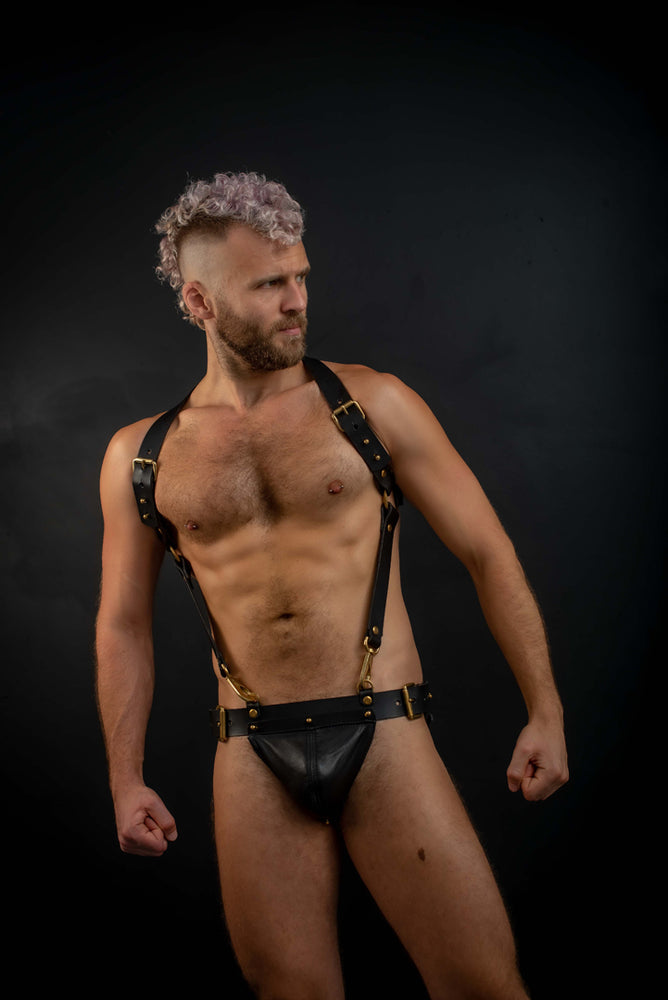 Body Harness and Gent Jock Bundle  | Leather