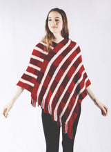 Load image into Gallery viewer, Check and Cozy Stripe Accent Poncho