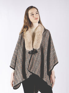 Fur Collar Plaid Cape