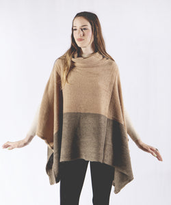 Colorblock Cape Poncho with Cowl Neck