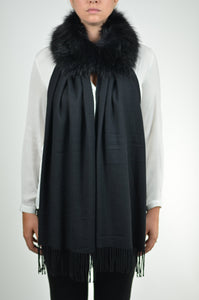 Detachable Fur Magentic Cashmere Touch Scarf