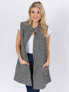 Houndstooth Mock Neck Vest