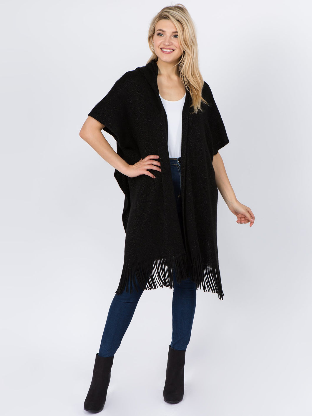 Hooded Metallic Fringe Ruana