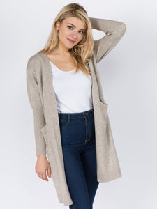 Long Soft Cardigan with Ribbed Arm
