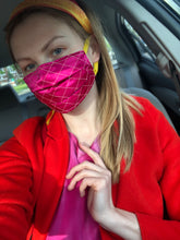 Load image into Gallery viewer, 'Gabrielle' Quilted Face Masks - Fuchsia / Yellow