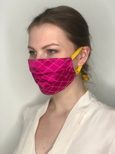'Gabrielle' Quilted Face Masks - Fuchsia / Yellow