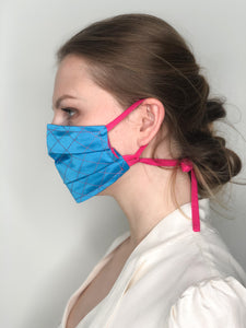 'Gabrielle' Quilted Face Masks - Blue / Pink