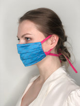 Load image into Gallery viewer, 'Gabrielle' Quilted Face Masks - Blue / Pink