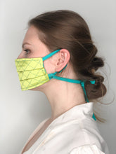 Load image into Gallery viewer, 'Gabrielle' Quilted Face Masks - Yellow / Turquoise