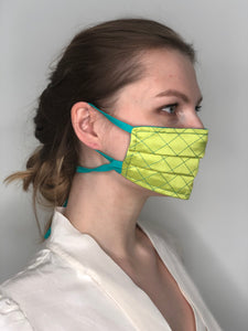 'Gabrielle' Quilted Face Masks - Yellow / Turquoise