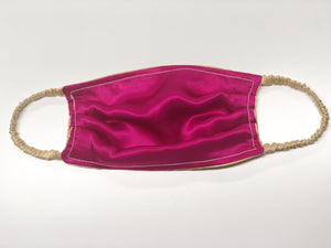 Silk Face Mask: Gold / Fuchsia