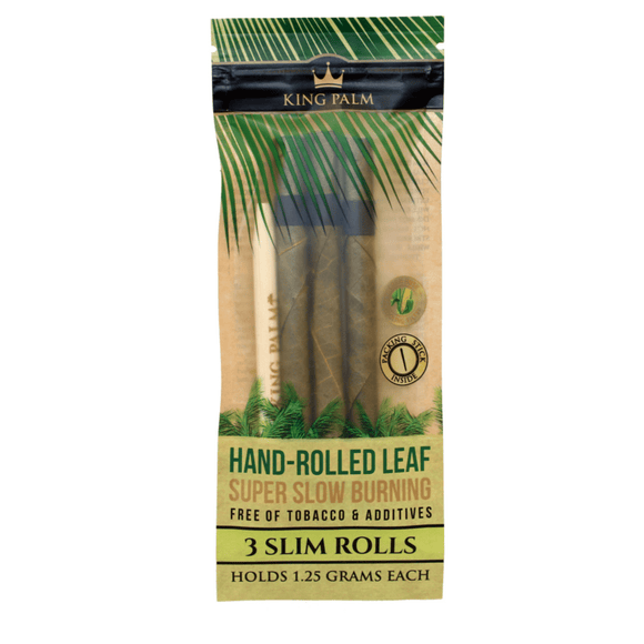 KING PALM - 3 Slim Rolls - Hand Rolled Leaf - Slow Burning