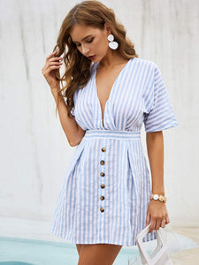 Plunging Neck Open Back Stripe Dress