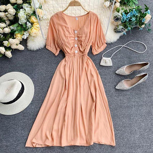 Short Sleeve High Waist A-line Dress